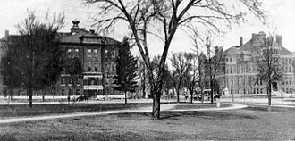 Topeka High School - Topeka High School and Manual Training School at 8th and Harrison, c. 1905-1930