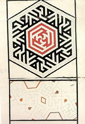 Topkapı Scroll - Hexagon with Kufic scripts of six time Muhammad (Muḥammad ibn ʿAbd Allāh) and three time Ali (Alī ibn Abī Ṭālib) in rotational symmetry