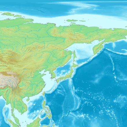 日本列島と周辺の地形図