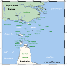 A map of the Torres Strait Islands showing Saibai in the north central waters of Torres Strait