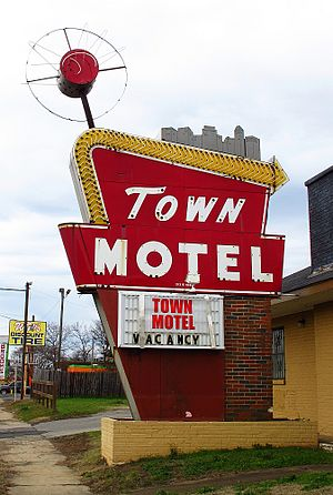Space Age - Satellite-influenced signage at the Town Motel in Birmingham, Alabama