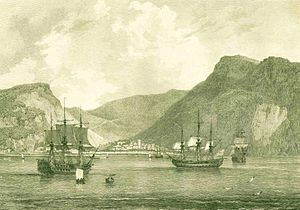 Jamestown, Saint Helena - A view of James Bay in 1794
