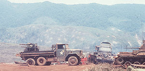 Indochina Wars - A truck-mounted Quad .50 at Khe Sanh Combat Base, during the Battle of Khe Sanh