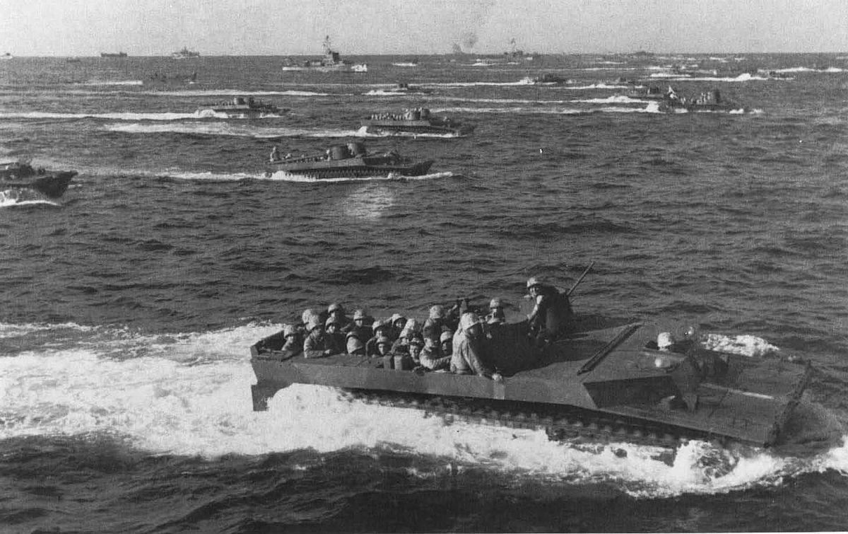 Tracked landing vehicles (LVTs) approach Iwo Jima;fig14.jpg