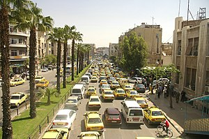 English: Traffic at Damascus streets.