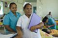 Trainee nurse Tekanrati Tito (left) with Nurse Patricia Demingauase at South Tarawa Hospital. Kiribati 2007. Photo- Lorrie Graham (10730364255).jpg