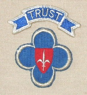 Trieste United States Troops - TRUST shoulder patch--Coat of arms of Trieste superimposed on the blue 88th Infantry division patch under a scroll with the letters TRUST