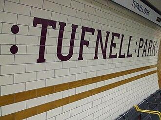 Tufnell Park tube station - Image: Tufnell Park stn tiling