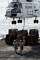 Two U.S. Marines aboard the amphibious transport dock ship USS Green Bay (LPD 20) clear the flight deck after attaching a pallet of cargo to a Military Sealift Command SA-330J Puma helicopter during 130228-N-BB534-671.jpg