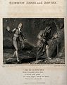 Two men crossing a stream by night. The first is barefoot, w Wellcome V0047940.jpg