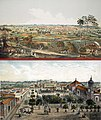 Two views of Santa Clara city in Cuba, painted by Leonardo Barañano and lithographed by Leonardo Laplante in 1858.jpg