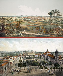 "Two views of Santa Clara painted by Leonardo Barañano and lithographed by famous French-Cuban artist Eduardo Laplante in 1858. Work appeared in the collections ""Cuba pintoresca"", ""Isla de Cuba pintoresca"" and ""Album pintoresco de Cuba"" printed between 1837 and 1858."