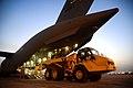 U.S. Air Force members unload a heavy operations vehicle from a C-17 Globemaster III (20531862838).jpg