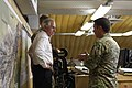 U.S. Sen. Bob Corker of Tennessee, left, receives a briefing on the NATO Special Operations Component Command-Afghanistan (NSOCC-A) Joint Operation Center from U.S. Army Maj. Gen. Scott Miller, right, at Camp 130707-N-QV903-019.jpg