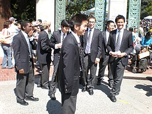 University of California Men's Octet - The Men's Octet after performing in front of Sather Gate during Cal Day 2009