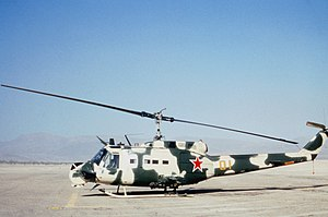 Opposing force - A UH-1H disguised as Mi-24 at Fort Irwin in 1985