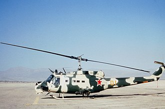 Opposing force - A UH-1H replicating a Mi-24 at Fort Irwin in 1985