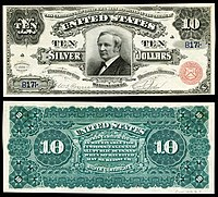 $10 Silver Certificate, Series 1886, Fr.291, depicting Thomas Hendricks