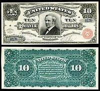Certificado de prata de $ 10, série 1886, Fr.291, representando Thomas Hendricks