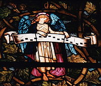 Detail of angel from nativity windows at Trinity Church, Boston, designed by Edward Burne-Jones and executed by William Morris, 1882