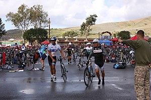 Duathlon - The run-bike transition zone at a duathlon