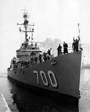 USS Currier (DE-700) at the San Francisco Naval Shipyard, circa in 1959