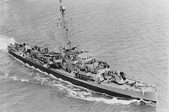 Rudderow-class destroyer escort - Image: USS Rudderow (DE 224) underway off the Philadelphia Naval Shipyard on 15 July 1944 (19 N 69261)