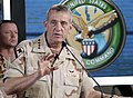 US Navy 030322-N-5891B-030 U.S. Army Gen. Tommy R. Franks, Commander in Chief of U.S. Central Command, holds a press conference with embedded media in the media center in the Quatar.jpg
