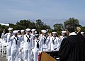 US Navy 030501-N-8029P-003 A total of 43 sailors assigned to USS Abraham Lincoln (CVN 72) take the oath of citizenship upon the completion of a naturalization ceremony.jpg