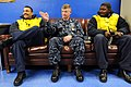 US Navy 090220-N-9818V-125 Aviation Boatswain's Mate (Equipment) 3rd Class Marcus Allen and Aviation Boatswain's Mate (Handling) 1st Class Nathaniel Sukal sit and talk with Master Chief Petty Officer of the Navy Rick West.jpg