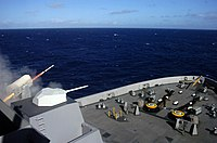 US Navy 090929-N-2515C-443 The amphibious transport dock ship USS Green Bay (LPD 20) fires a surface-to-air intercept missile from the Rolling Airframe Missile (RAM) launcher during Combat System Ship Qualification Trials off t