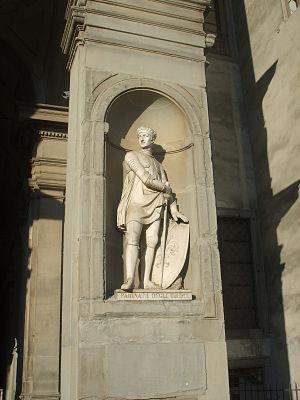 Niche (architecture) - Niche on exterior of Uffizi Palace, Florence (c.1560-81), containing statue of Farinata degli Uberti (d.1264)