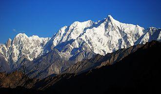 Ultar - Ultar Sar (right), Bojohagur Duanasir (left of it); Hunza Peak and Bublimotin (far left)