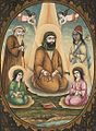 Unknown Artist Imam 'Ali with Hasan and Husayn Painting With Calligraphy Persian , 19th century (cropped).jpg