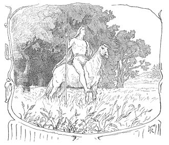Víðarr - A depiction of Víðarr on horseback by Lorenz Frølich, 1895