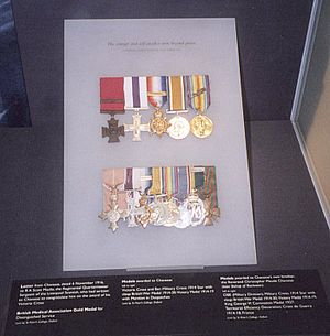 Noel Godfrey Chavasse - Medals of Noel and Christopher Chavasse. Noel's medals are top row. Christopher's medals are bottom row.