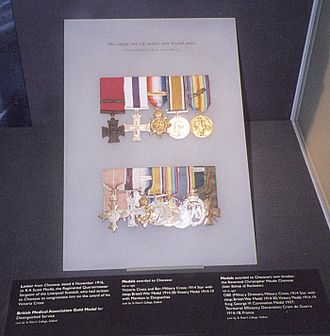 Christopher Chavasse - Medals of Noel and Christopher Chavasse. Noel's medals are top row. Christopher's medals are bottom row.