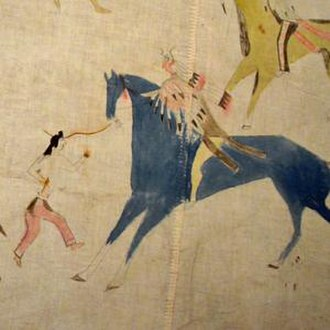 Lakota people - Scenes of battle and horse raiding decorate a muslin Lakota tipi from the late 19th or early 20th century