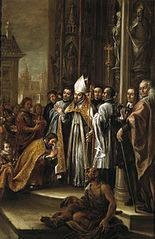 Saint Ambrose absolves the Emperor Theodosius