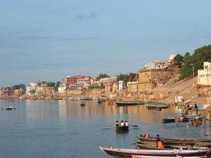Ghats in Varanasi - Varanasi Ghat at sunrise.