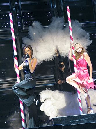 "2 Become 1 - Victoria Beckham and Emma Bunton in Las Vegas, Nevada, on 11 December 2007, performing ""2 Become 1""."