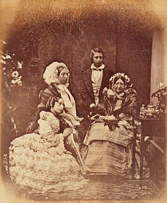 Princess Mary, Duchess of Gloucester and Edinburgh - 1856 daguerreotype of Princess Mary (seated far right). Sitting to her left are Queen Victoria and Princess Alice. Standing is the Prince of Wales (later King Edward VII). Daguerreotype by Antoine Claudet