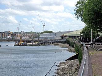 Convoys Wharf - The Thames Path interrupted by Convoys Wharf