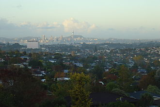 North Shore, New Zealand - A southern part of North Shore viewed from Forrest Hill, with central Auckland in the background
