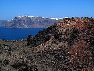Santorini - Fira from Nea Kameni volcanic Island