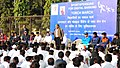 Vijay Goel addressing the gathering on the occasion of the Torch March by Sports Persons from Major Dhyanchand National Stadium to Ambedkar Stadium in support of Demonetization and Digital Banking, in New Delhi.jpg