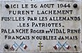 Villeurbanne - Plaque Roger Palanche et René Vidal fusillés 26-08-1944 (janv 2019).jpg