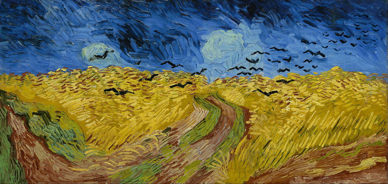 An expansive painting of a wheatfield, with a footpath going through the centre underneath dark and forbidding skies, through which a flock of black crows fly.