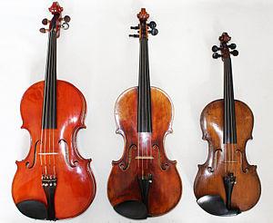 Viola profunda - From left to right: viola profonda, viola, violin