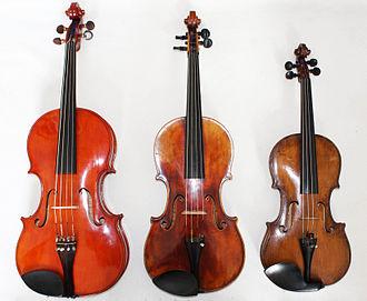 Viola profonda - From left to right: viola profonda, viola, violin